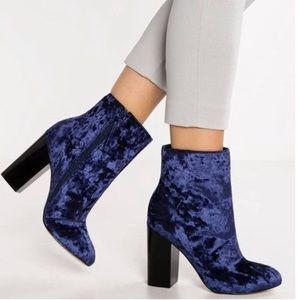 Blue crushed velvet booties